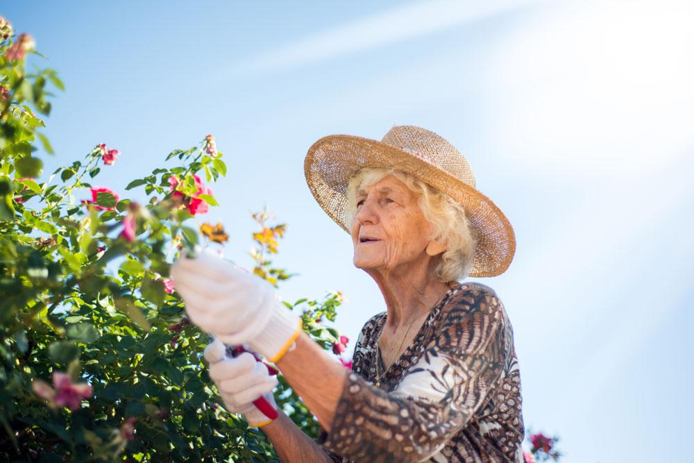 Flourish Memory Care resident gardening outside